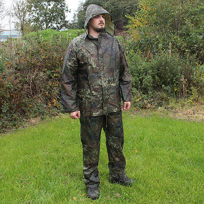 WATERPROOF Flecktarn Camo Outdoor Jacket and Trousers Survival SET - All Sizes