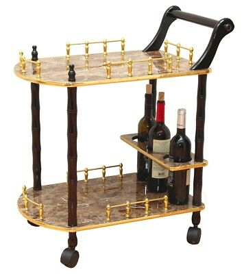 New Uniquewise 2-Tier Serving Tea Cart, Gold Marble Finish, QI003133