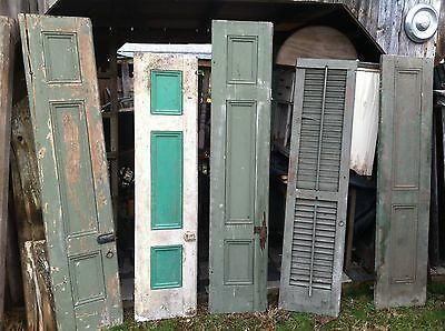 Vtg  1800's Old  Wooden Window Shutters Architectural Salvage Screen 75 in
