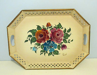 Mid Centry Hand Painted Vintage Tole Metal Serving Tray French Provincial Look