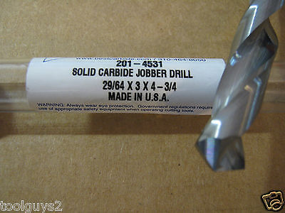"SOLID CARBIDE 15DEG HELIX 135DEG SPLIT PT SCREW MACHINE DRILL BIT 29//64/"" .4531"