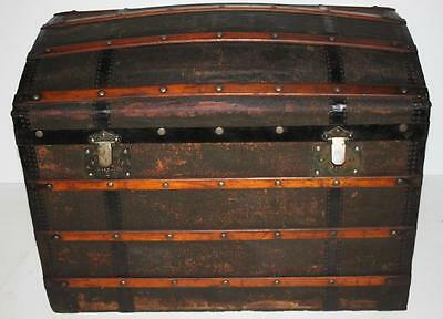 Vintage Domed Steamer Trunk  Travel  Traveling Chest Storage