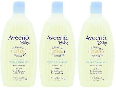 3 Pack Aveeno Baby Wash and Shampoo - 18 oz. Each