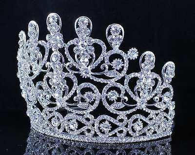A89132 Austrian Rhinestone Crystal Crown Tiara With Hair Combs Pageant Prom Gift