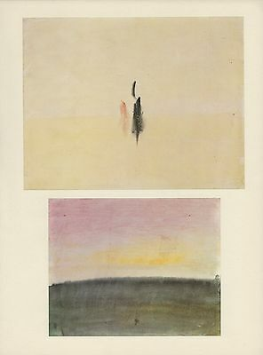 """1976 Vintage TURNER """"BOATS AT SEA"""" & """"PINK SKY"""" 2 TIPPED Art Print Lithographs"""