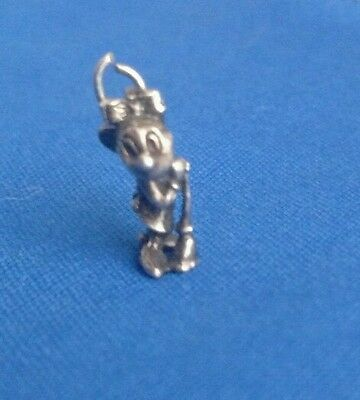MINNIE MOUSE Disney SILVER CHARM 3D Figure MOP BROOM 40s 3D charm