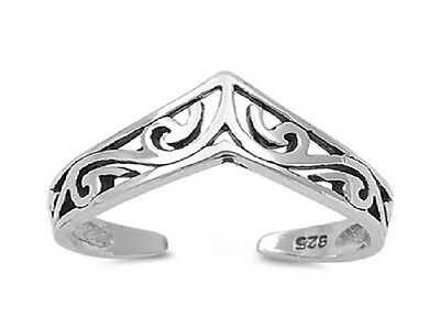 100% GENUINE 925 Sterling Silver Celtic Chevron Wishbone Adjustable Toe Ring