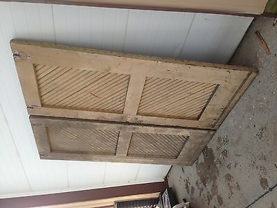 Vintage Salvaged Reclaimed Double Sliding Elevator shaft  Wooden  Doors #3