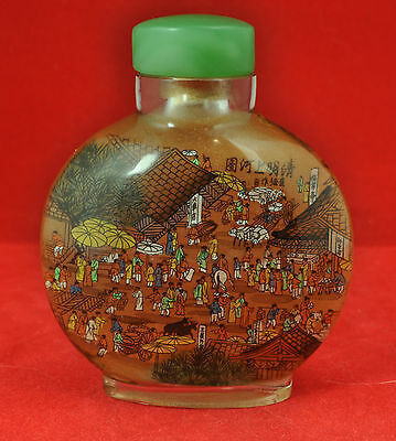 Chinese inside painted story snuff bottle signed, with a jade & pith stopper