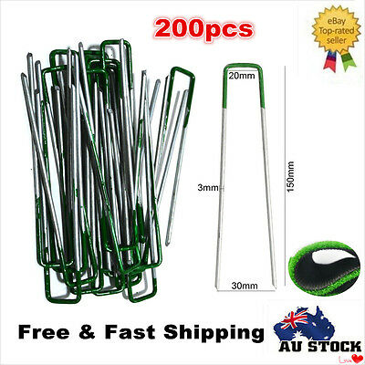 200 x Heavy Duty Turf Pins Pegs Grass Lawn Weed Mat Pins Anchor Turf Pins
