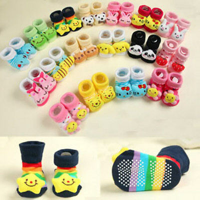Cartoon Cute Baby Girl Boy Anti-slip Socks Slipper Socks Shoes Boots 6-18 Months