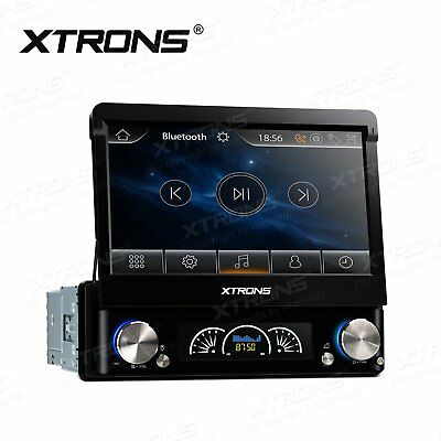 "XTRONS 7"" Single 1 DIN Car Stereo DVD Player Motorized Touch Screen GPS Sat Nav"