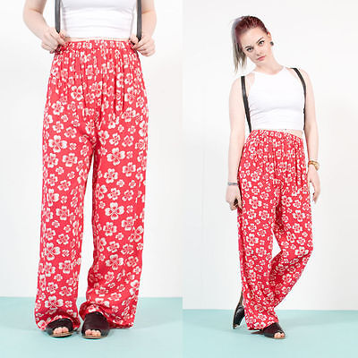 Womens Vintage Red White Floral Patterned High Waist Trousers Boho Loose Fit 14