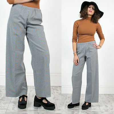 Womens Vintage 70's Fine Check Plaid High Waist Flared Bell Bottoms Trousers 14