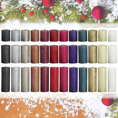 Bolsius Long Burn Rustic Metallic Pillar Church Wedding Christmas Xmas Candles