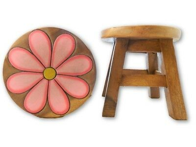 Childs Childrens Wooden Stool - Pink Daisy Step Stool