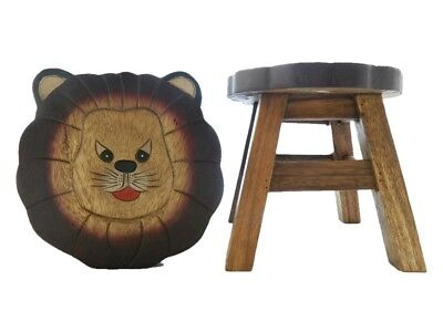 Childs Childrens Wooden Stool - Lion Shaped