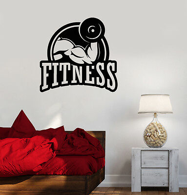 ig3950 Vinyl Wall Decal Muscled Man Gym Fitness Motivation Stickers