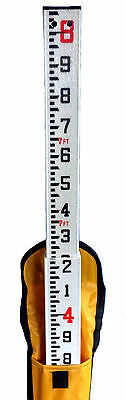 8 Foot Fiberglass Grade Rod with Tenths Scale & Carrying Case