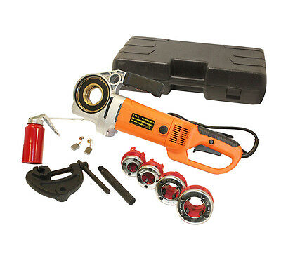 Portable Electric Pipe Threader Machine With 4 Pc Dies 2000W Threading