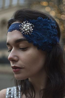 Navy Blue Silver Pearl Feather Headpiece 1920s Flapper Headband Vintage Lace T91