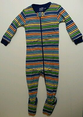 New Baby Gap Footed One Piece Blue Bright Colored Striped Pajamas 6 to 12 Months