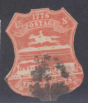(ZB-32) 1876 USA 3c red Postage Horse & train (A)