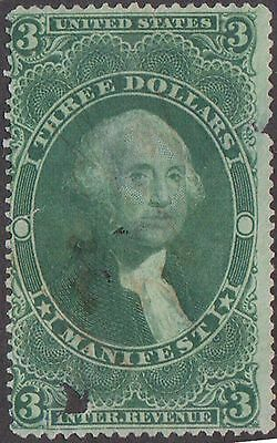 (ZB-44) 1870 USA $3 green Internal revenue Washington (space filler) (Z)