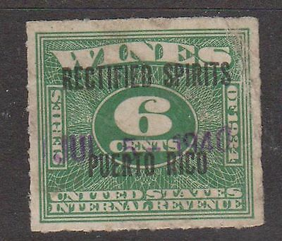 (ZB-46) 1943 USA 6c green wine &tax O/P Puerto Rico (B)