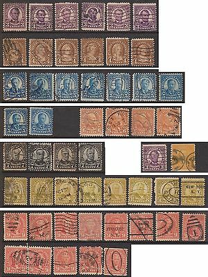 (ZB-214) 1922 USA mix of 52 stamps 3c to10c