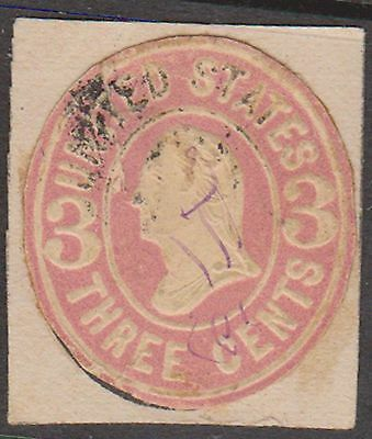 (ZB-73) 1864 USA 3c pink cut out