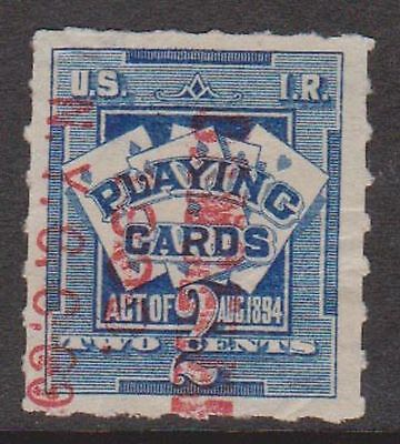 (ZB-71) 1896 USA 1c blue& red O/P playing card stamp (C)