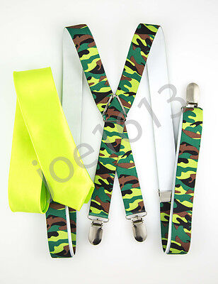 """Mens Neon Lime 2"""" Skinny Neck Tie Green And Brown Camo Suspender Set SDNT156"""