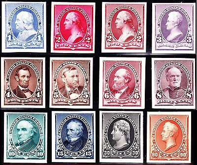US 219P4-229P4 1890 Issue Proofs on Card w/ Both 2c VF-XF SCV $785