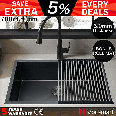 700x450mm Stainless Steel Kitchen Sink Handmade Nano Single Laundry Bowl Black