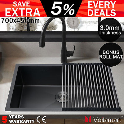 Stainless Steel Kitchen Sink 700x450mm Handmade Nano Single Bowl with Roll Mat