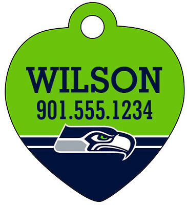 Seattle Seahawks Pet Id Tag for Dogs & Cats Personalized w/ Name & Number