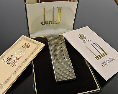 AUTH VINTAGE DUNHILL SILVERTONE LIGHTER SWISS MADE w/CASE GUARANTEE INSTRUCTION