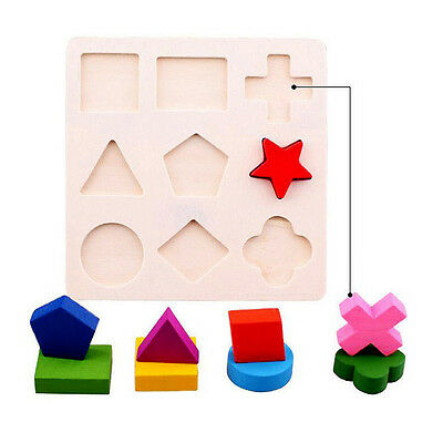 Kids Baby Wooden Learning Educational Toy Geometry Block Puzzle Montessori Gift