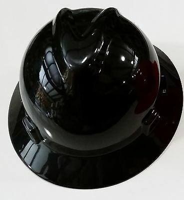 "MSA V-Gard BLACK Full Brim Safety Hard Hat ""NEW"" One Touch Suspension FAST SHIP"