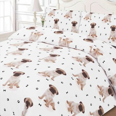 Cute Pug Puppy Dog Print Duvet Cover Pillow Case SINGLE Size Bedding Set White