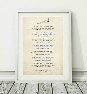 024 Ellie Goulding - How Long Will I Love You - Song Lyric Poster Print - A4 A3