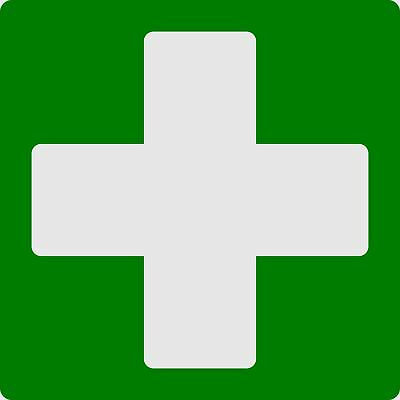 Doorplate cross green (first-aid box) selfsticking 100 x 100 mm
