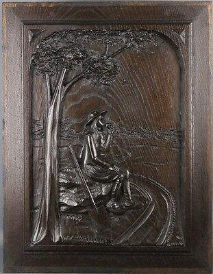 Antique French Architectural Carved Wood Panel Breton Scene