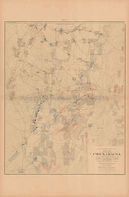 Battle Chickamauga Preliminary Civil War Antique Map US Government 1902 Original