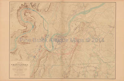 Battle Chattanooga Brown's Ferry Civil War Antique Map US Government 1902 Or