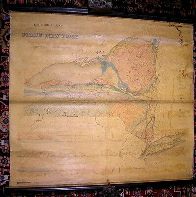 New York State Legislature Geological Map rare 1842 antique wall map Marcou #239