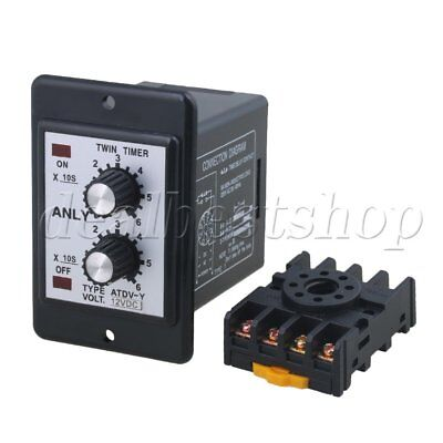 DC12V Programmable Timer With ATDV-Y 60Sx60S Double Time Delay Relay
