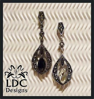 Stunning Silver Post Stud Dangle Earrings Faceted Glass Stone ~ 3 Style Choices