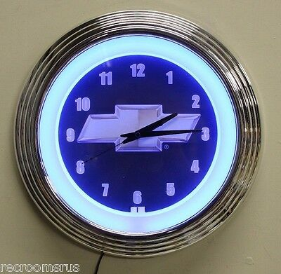 CHEVROLET neon clock with Bowtie logo single blue neon with chrome body Chevy